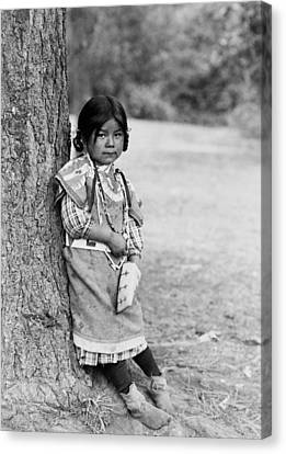 Braids Canvas Print - Umatilla Girl Circa 1910 by Aged Pixel