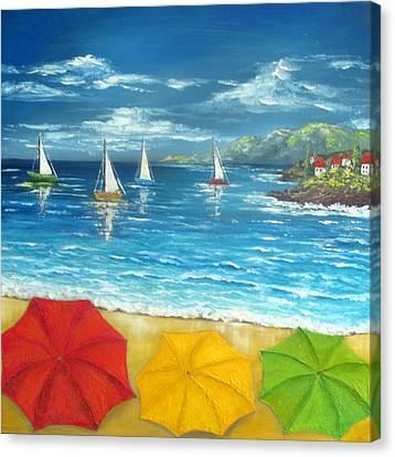 Umbrella Beach Canvas Print