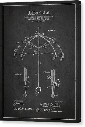 Rain Canvas Print - Umbrella Patent Drawing From 1912 by Aged Pixel