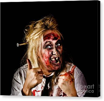 Undead Business Zombie Giving Halloween Thumbs Up Canvas Print by Jorgo Photography - Wall Art Gallery