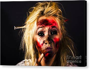 Undead Zombie Looking To Dark Copy Space Canvas Print by Jorgo Photography - Wall Art Gallery