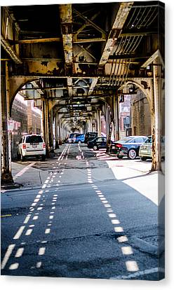Under The L Tracks Canvas Print