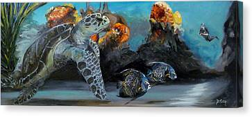 Canvas Print featuring the painting Underwater Beauty by Donna Tuten