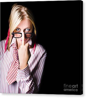 Unhappy Worker Sending A Unsolicited Message Canvas Print by Jorgo Photography - Wall Art Gallery