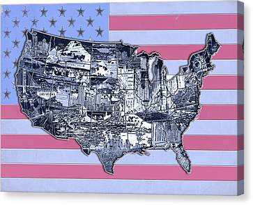 United States Flag Map Canvas Print