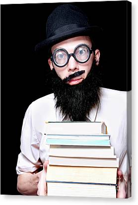 University Lecturer Holding Education Text Books Canvas Print by Jorgo Photography - Wall Art Gallery