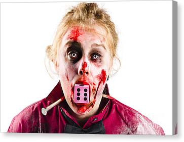 Unlucky Woman With Dice In Mouth Canvas Print by Jorgo Photography - Wall Art Gallery