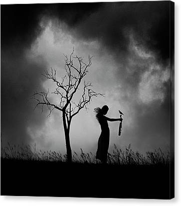Wind Blown Tree Canvas Print - Untitled by Ajie Alrasyid