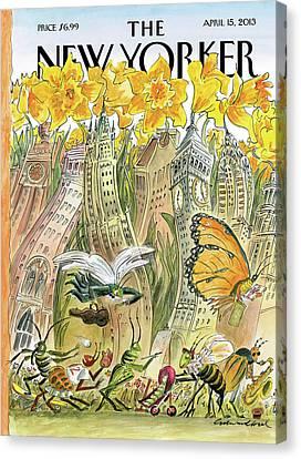 Season Canvas Print - New Yorker April 15th, 2013 by Edward Sorel