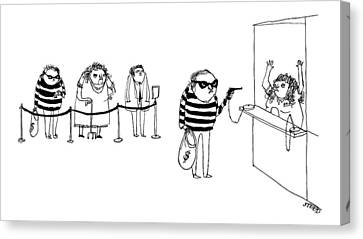 Bank Robber Canvas Print - New Yorker August 8th, 2016 by Edward Steed