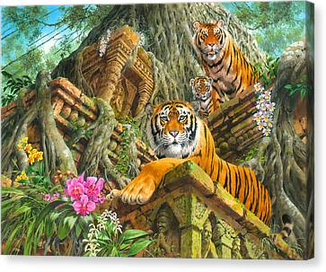 Temple Tigers Canvas Print by John Francis