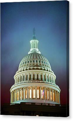 Us Capitol At Night In Fog, Washington Canvas Print