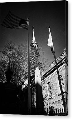 Us Flag Flying Outside St Pauls Chapel Ground Zero New York City Canvas Print by Joe Fox
