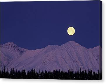 Gerry Canvas Print - Usa, Alaska, Alaska Range, Full Moon by Gerry Reynolds