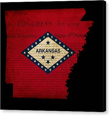 Usa American Arkansas State Map Outline With Grunge Effect Flag  Canvas Print by Matthew Gibson