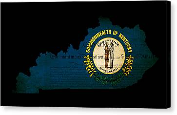 Usa American Kentucky State Map Outline With Grunge Effect Flag  Canvas Print by Matthew Gibson