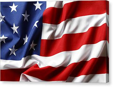 Patriotic Canvas Print - Usa Flag by Les Cunliffe