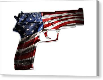 Usa Gun  Canvas Print by Les Cunliffe