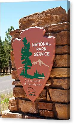 Usa, Utah, Park Service Signage Canvas Print by Lee Foster