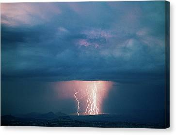Usa, Utah, Thunderstorm Over Cathedral Canvas Print by Scott T. Smith