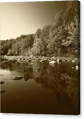 Usa, Vermont, Autumn Trees Reflected Canvas Print by Adam Jones