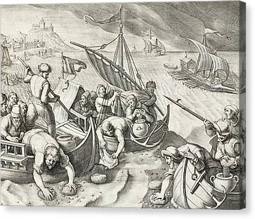 Using Sponges To Collect Naphtha From The Surface Of The Waves Canvas Print by Jan Van Der Straet