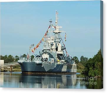 Uss North Carolina Battleship Canvas Print by Bob Sample