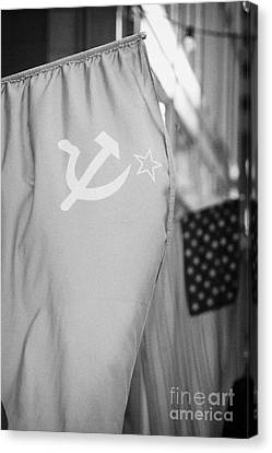 Russian Icon Canvas Print - Ussr Red Hammer And Sickle Flag Next To Us Stars And Stripes by Joe Fox