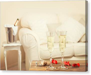 Valentines Day Champagne Canvas Print by Amanda Elwell