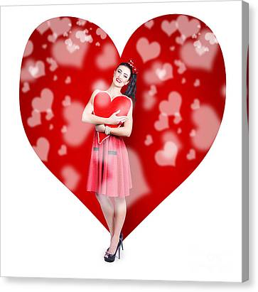 Valentines Day Woman Holding Love Heart Card Canvas Print by Jorgo Photography - Wall Art Gallery