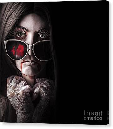 Dark Skin Canvas Print - Vampire In The Dark. Horror Fashion Portrait by Jorgo Photography - Wall Art Gallery