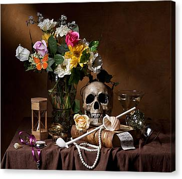Vanitas With Flowers Bouquet-skull-hourglass-clay Pipe And Glassware Canvas Print by Levin Rodriguez