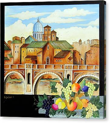 Canvas Print featuring the painting Vecchia Roma by Roberto Gagliardi