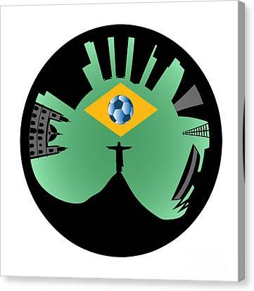 Vector Rio De Janeiro Skyline Canvas Print by Michal Boubin