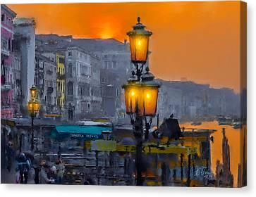 Canvas Print featuring the photograph Venezia Al Crepuscolo by Juan Carlos Ferro Duque