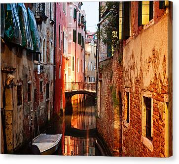 Canvas Print featuring the photograph Venice Italy Canal by Kim Fearheiley