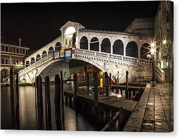 Venice Rialto Bridge At Night  Canvas Print by Melanie Viola