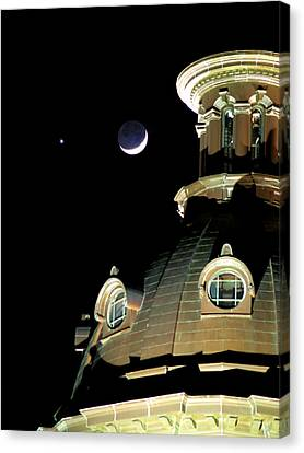 Venus And Crescent Moon-1 Canvas Print by Charles Hite