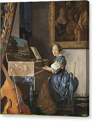 Vermeer, Johannes 1632-1675. A Young Canvas Print by Everett