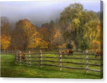 Vermont Farm In Autumn Canvas Print by Joann Vitali
