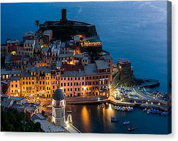 Canvas Print featuring the photograph Vernazza Harbor by Carl Amoth