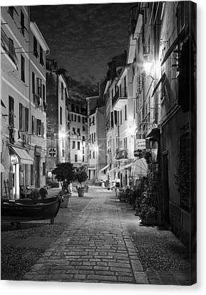 Street Lights Canvas Print - Vernazza Italy by Carl Amoth