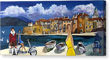 Vespa And French Cove Canvas Print