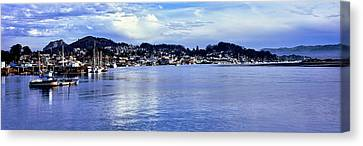 View Of City At Waterfront, Morro Bay Canvas Print