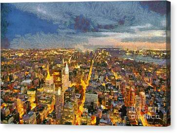 Sundown Canvas Print - View Of Manhattan From Empire State Building by George Atsametakis