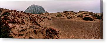 View Of Sand Dunes And The Morro Rock Canvas Print