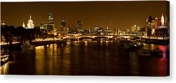 View Of Thames River From Waterloo Canvas Print