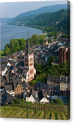 View Over Bacharach And River Rhine Canvas Print