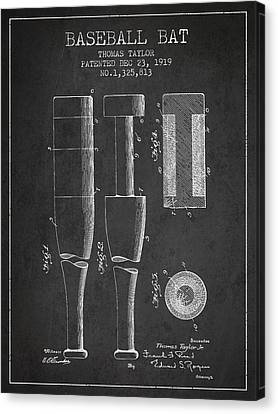 Baseball Canvas Print - Vintage Baseball Bat Patent From 1919 by Aged Pixel