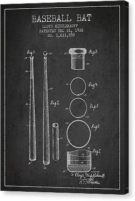 Vintage Baseball Bat Patent From 1926 Canvas Print